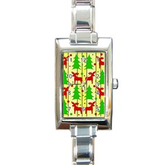 Xmas Reindeer Pattern   Yellow Rectangle Italian Charm Watch by Valentinaart