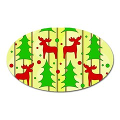 Xmas Reindeer Pattern   Yellow Oval Magnet by Valentinaart
