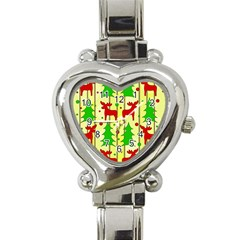 Xmas Reindeer Pattern   Yellow Heart Italian Charm Watch by Valentinaart