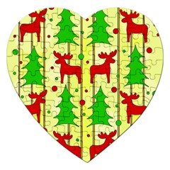 Xmas Reindeer Pattern   Yellow Jigsaw Puzzle (heart) by Valentinaart