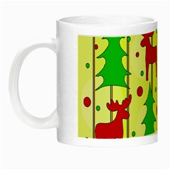 Xmas Reindeer Pattern   Yellow Night Luminous Mugs by Valentinaart