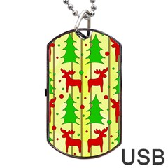 Xmas Reindeer Pattern   Yellow Dog Tag Usb Flash (one Side) by Valentinaart