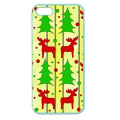 Xmas Reindeer Pattern   Yellow Apple Seamless Iphone 5 Case (color) by Valentinaart