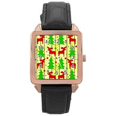 Xmas Reindeer Pattern   Yellow Rose Gold Leather Watch  by Valentinaart