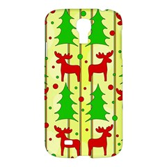 Xmas Reindeer Pattern   Yellow Samsung Galaxy S4 I9500/i9505 Hardshell Case by Valentinaart