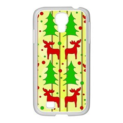 Xmas Reindeer Pattern   Yellow Samsung Galaxy S4 I9500/ I9505 Case (white) by Valentinaart