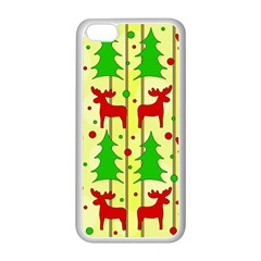 Xmas Reindeer Pattern   Yellow Apple Iphone 5c Seamless Case (white) by Valentinaart