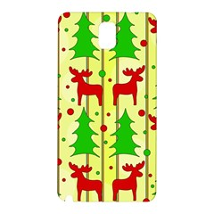 Xmas Reindeer Pattern   Yellow Samsung Galaxy Note 3 N9005 Hardshell Back Case by Valentinaart