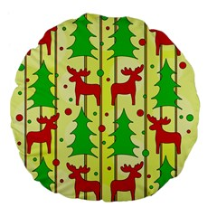Xmas Reindeer Pattern   Yellow Large 18  Premium Flano Round Cushions by Valentinaart