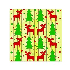 Xmas Reindeer Pattern   Yellow Small Satin Scarf (square) by Valentinaart