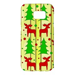 Xmas Reindeer Pattern   Yellow Samsung Galaxy S7 Edge Hardshell Case by Valentinaart