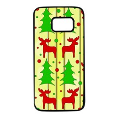 Xmas Reindeer Pattern   Yellow Samsung Galaxy S7 Black Seamless Case by Valentinaart