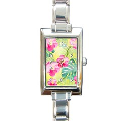 Tropical Dream Hibiscus Pattern Rectangle Italian Charm Watch by DanaeStudio
