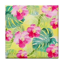 Tropical Dream Hibiscus Pattern Tile Coasters by DanaeStudio