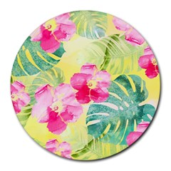 Tropical Dream Hibiscus Pattern Round Mousepads by DanaeStudio