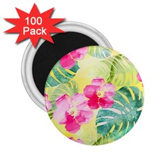 Tropical Dream Hibiscus Pattern 2 25  Magnets (100 Pack)  by DanaeStudio