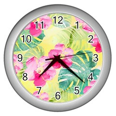 Tropical Dream Hibiscus Pattern Wall Clocks (silver)  by DanaeStudio