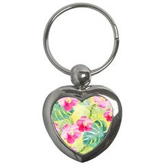 Tropical Dream Hibiscus Pattern Key Chains (heart)  by DanaeStudio