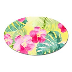 Tropical Dream Hibiscus Pattern Oval Magnet by DanaeStudio