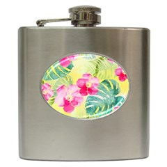 Tropical Dream Hibiscus Pattern Hip Flask (6 Oz) by DanaeStudio