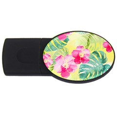 Tropical Dream Hibiscus Pattern Usb Flash Drive Oval (4 Gb)  by DanaeStudio
