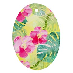 Tropical Dream Hibiscus Pattern Oval Ornament (two Sides) by DanaeStudio