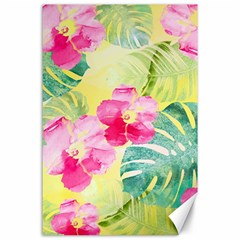 Tropical Dream Hibiscus Pattern Canvas 24  X 36  by DanaeStudio