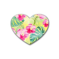 Tropical Dream Hibiscus Pattern Heart Coaster (4 Pack)  by DanaeStudio