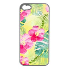 Tropical Dream Hibiscus Pattern Apple Iphone 5 Case (silver)
