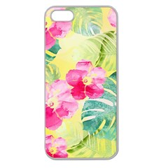 Tropical Dream Hibiscus Pattern Apple Seamless Iphone 5 Case (clear) by DanaeStudio