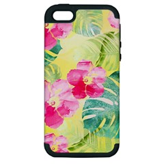 Tropical Dream Hibiscus Pattern Apple Iphone 5 Hardshell Case (pc+silicone) by DanaeStudio