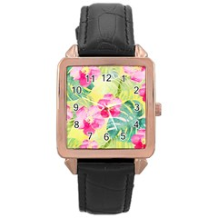 Tropical Dream Hibiscus Pattern Rose Gold Leather Watch  by DanaeStudio