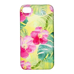 Tropical Dream Hibiscus Pattern Apple Iphone 4/4s Hardshell Case With Stand