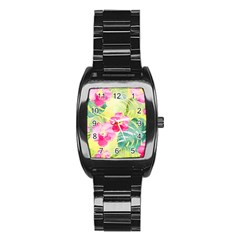 Tropical Dream Hibiscus Pattern Stainless Steel Barrel Watch by DanaeStudio