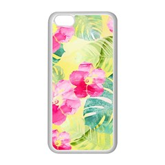 Tropical Dream Hibiscus Pattern Apple Iphone 5c Seamless Case (white) by DanaeStudio
