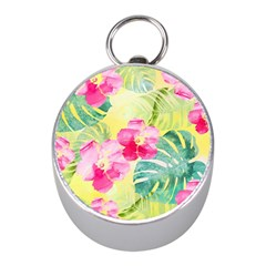 Tropical Dream Hibiscus Pattern Mini Silver Compasses by DanaeStudio