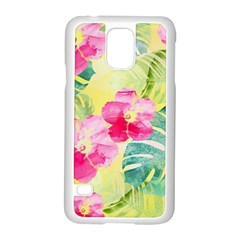 Tropical Dream Hibiscus Pattern Samsung Galaxy S5 Case (white) by DanaeStudio