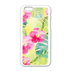 Tropical Dream Hibiscus Pattern Apple Iphone 6/6s White Enamel Case by DanaeStudio