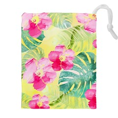Tropical Dream Hibiscus Pattern Drawstring Pouches (xxl) by DanaeStudio