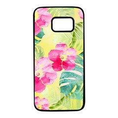Tropical Dream Hibiscus Pattern Samsung Galaxy S7 Black Seamless Case by DanaeStudio