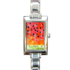 Abstract Watermelon Rectangle Italian Charm Watch by DanaeStudio