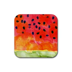 Abstract Watermelon Rubber Square Coaster (4 Pack)