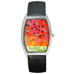 Abstract Watermelon Barrel Style Metal Watch