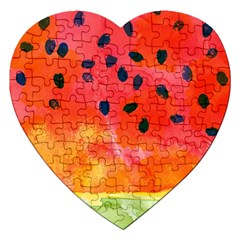 Abstract Watermelon Jigsaw Puzzle (heart)