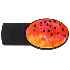 Abstract Watermelon Usb Flash Drive Oval (4 Gb)  by DanaeStudio