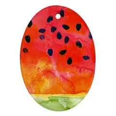 Abstract Watermelon Oval Ornament (two Sides) by DanaeStudio