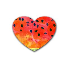 Abstract Watermelon Heart Coaster (4 Pack)  by DanaeStudio