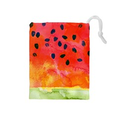 Abstract Watermelon Drawstring Pouches (medium)  by DanaeStudio