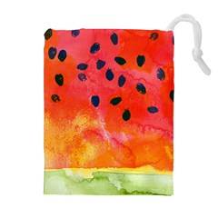 Abstract Watermelon Drawstring Pouches (extra Large) by DanaeStudio
