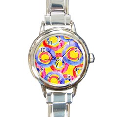 Blue And Pink Dream Round Italian Charm Watch by DanaeStudio